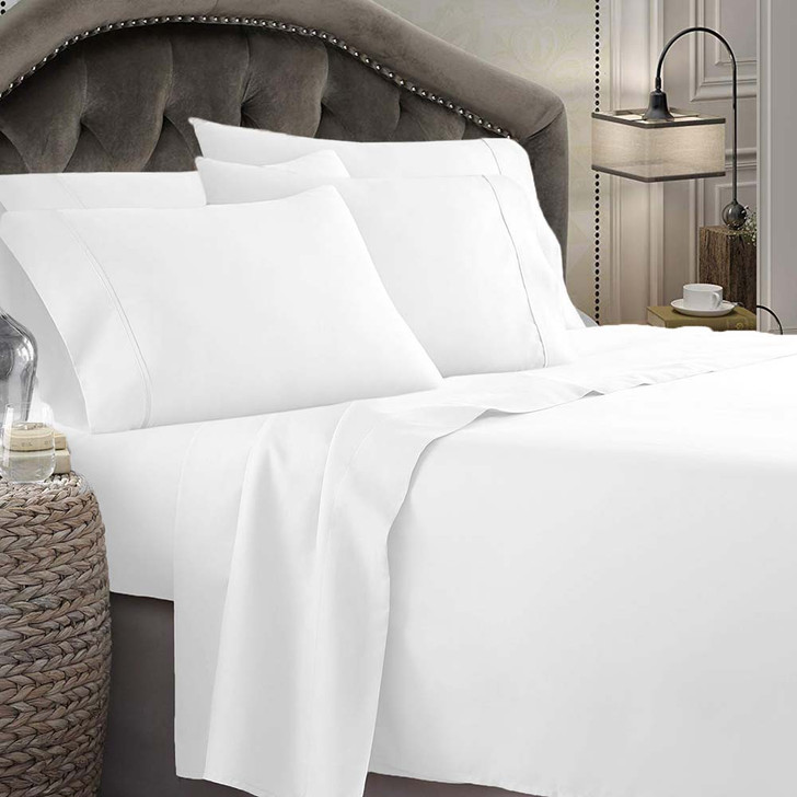 Shangri-La Linen Microfibre 1800TC Queen 50cm Bed Sheet Set White | My Linen