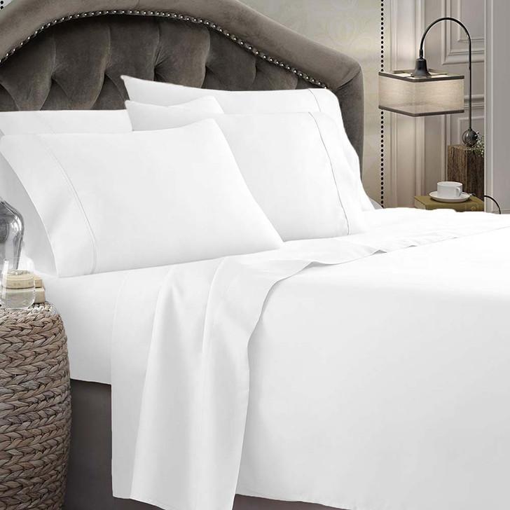 Shangri-La Linen Microfibre 1800TC Queen 50cm Bed Sheet Set White | My Linen