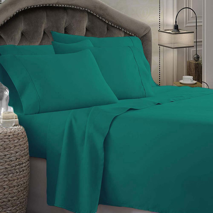 Shangri-La Linen 1800 Series Microfibre King 50cm Bed Sheet Set Teal   My Linen