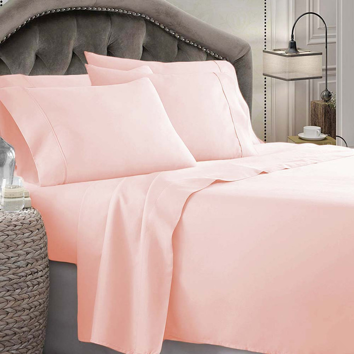 Shangri-La Linen 1800 Series Microfibre Queen Bed Sheet Set Tea Rose | My Linen