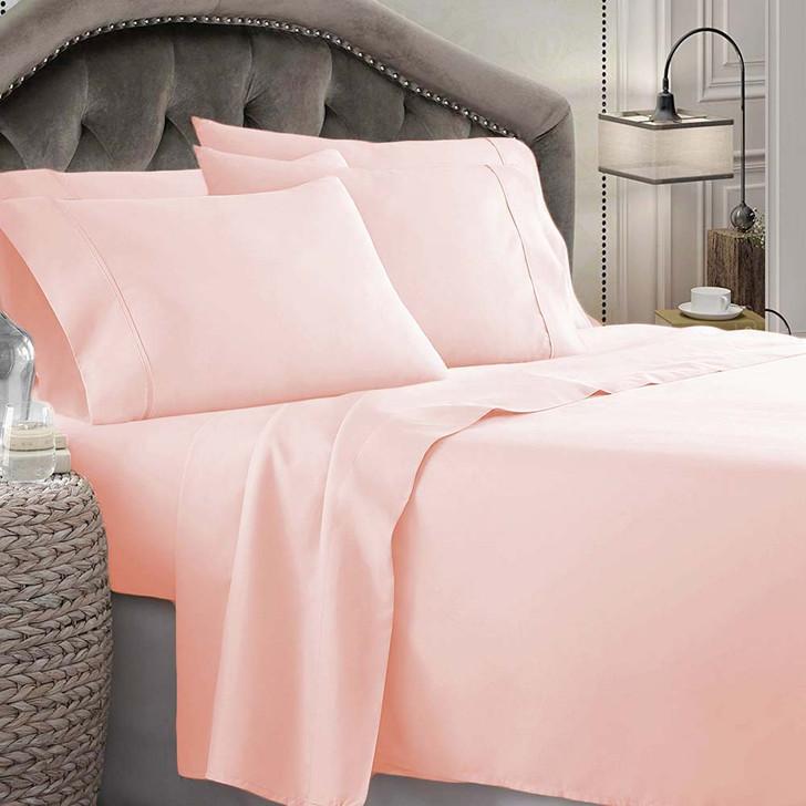 Shangri-La Linen 1800 Series Microfibre King 50cm Bed Sheet Set Tea Rose | My Linen