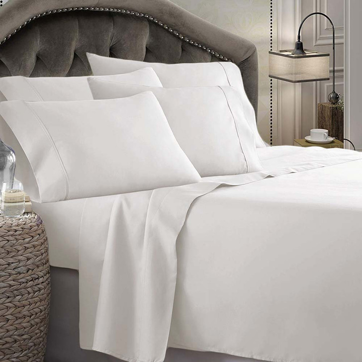 Shangri-La Linen 1800 Series Microfibre Queen 50cm Bed Sheet Set Silver | My Linen