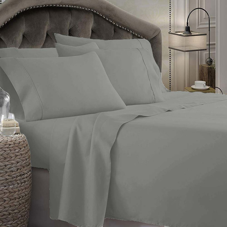 Shangri-La Linen 1800 Series Microfibre Single Bed Sheet Set Grey   My Linen