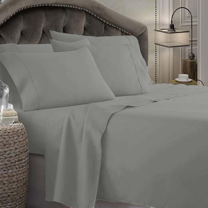 Shangri-La Linen 1800 Series Microfibre Queen 50cm Bed Sheet Set Grey   My Linen