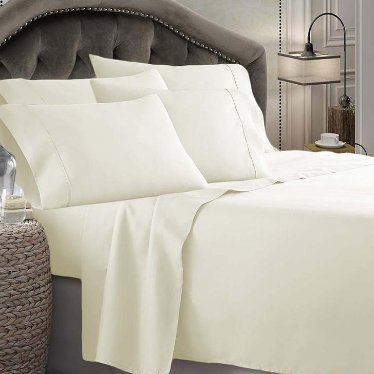 Shangri-La Linen 1800 Series Microfibre Queen 50cm Bed Sheet Set Ivory   My Linen