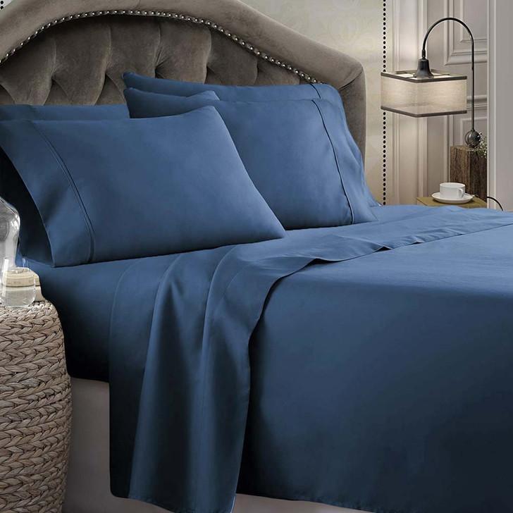 Shangri-La Linen 1800 Series Microfibre Queen 50cm Bed Sheet Set Denim   My Linen