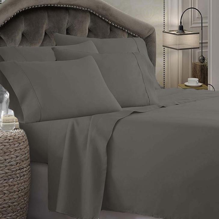 Shangri-La Linen 1800 Series Microfibre Queen 50cm Bed Sheet Set Charcoal   My Linen