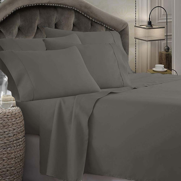 Shangri-La Linen 1800 Series Microfibre King 50cm Bed Sheet Set Charcoal   My Linen