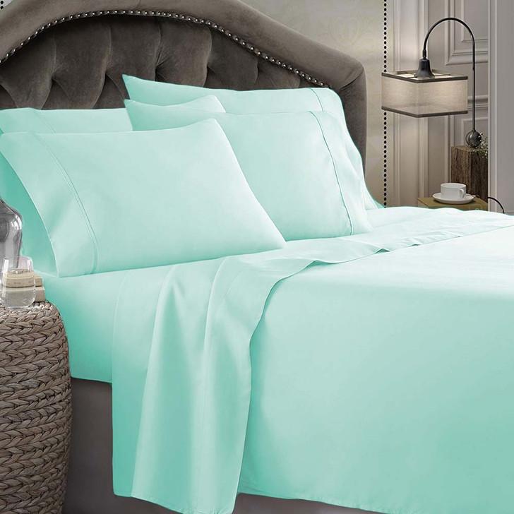 Shangri-La Linen 1800 Series Microfibre Double Bed Sheet Set Aqua   My Linen