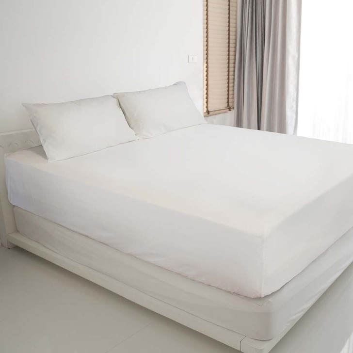 Ardor Gold Label Cotton Rich Queen Bed Fitted Sheet & Pillowcase Combo 3000TC White   My Linen