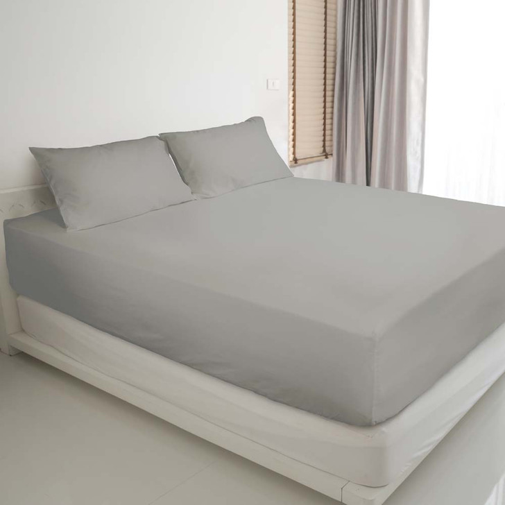 Ardor Gold Label Cotton Rich Queen Bed Fitted Sheet & Pillowcase Combo 3000TC Silver | My Linen