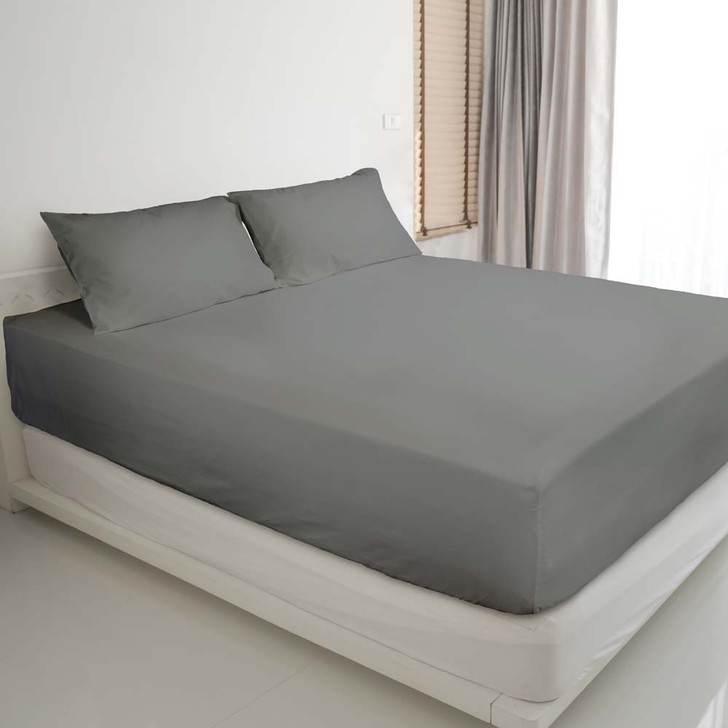 Ardor Gold Label Cotton Rich Queen Bed Fitted Sheet & Pillowcase Combo 3000TC Charcoal | My Linen