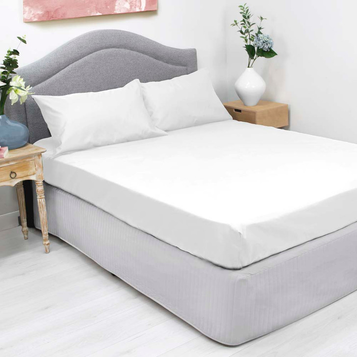 Ardor Cotton Rich Single Bed Fitted Sheet & Pillowcase Combo 1000TC White   My Linen