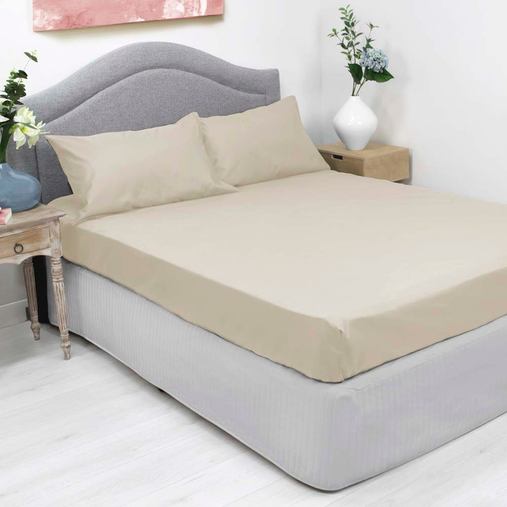 Ardor Cotton Rich Queen Bed Fitted Sheet & Pillowcase Combo 1000TC Ivory   My Linen
