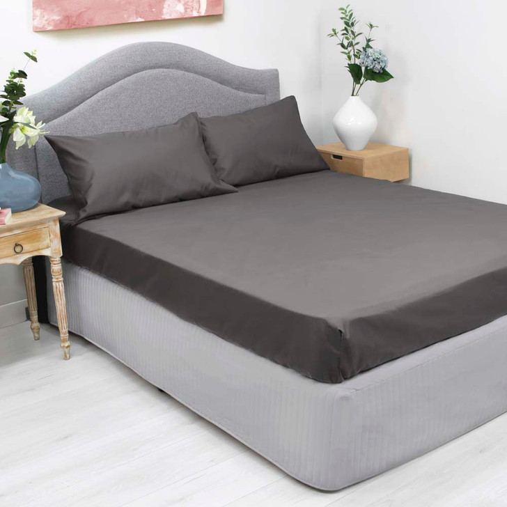 Ardor Cotton Rich King Bed Fitted Sheet & Pillowcase Combo 1000TC Charcoal | My Linen