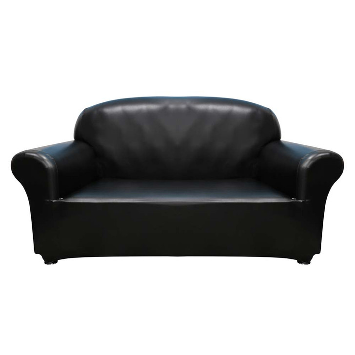 Sure Fit Faux Leather 2 Seater Sofa Cover Black   My Linen