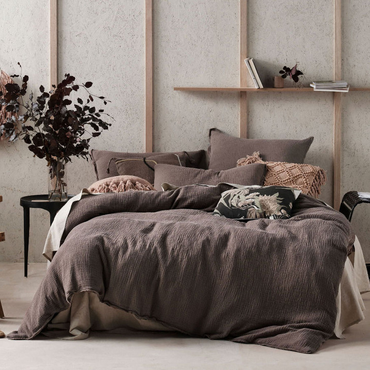 Linen House Elysian Mocha Double Bed Quilt Cover Set   My Linen