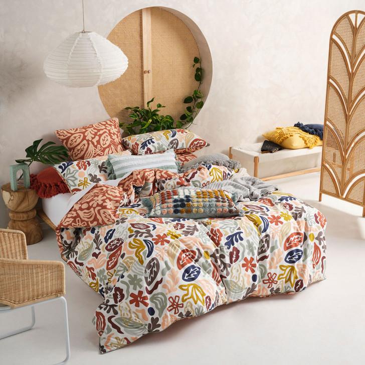 Linen House McKenzie Cinnamon Double Bed Quilt Cover Set   My Linen