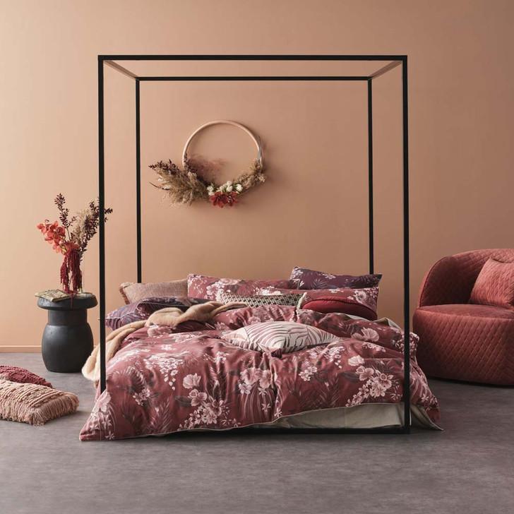 Linen House Taira Rhubarb Queen Bed Quilt Cover Set   My Linen