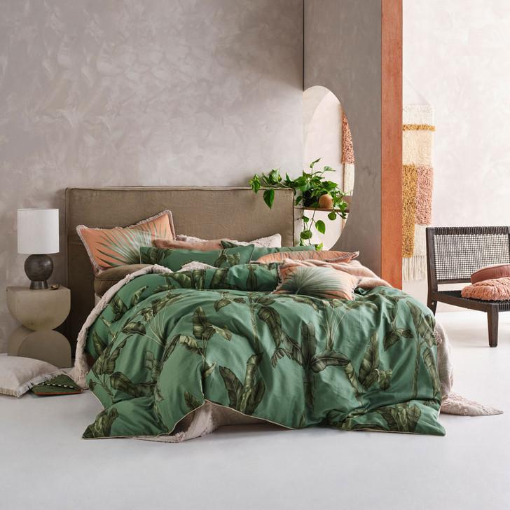 Linen House Livia Green Double Bed Quilt Cover Set | My Linen