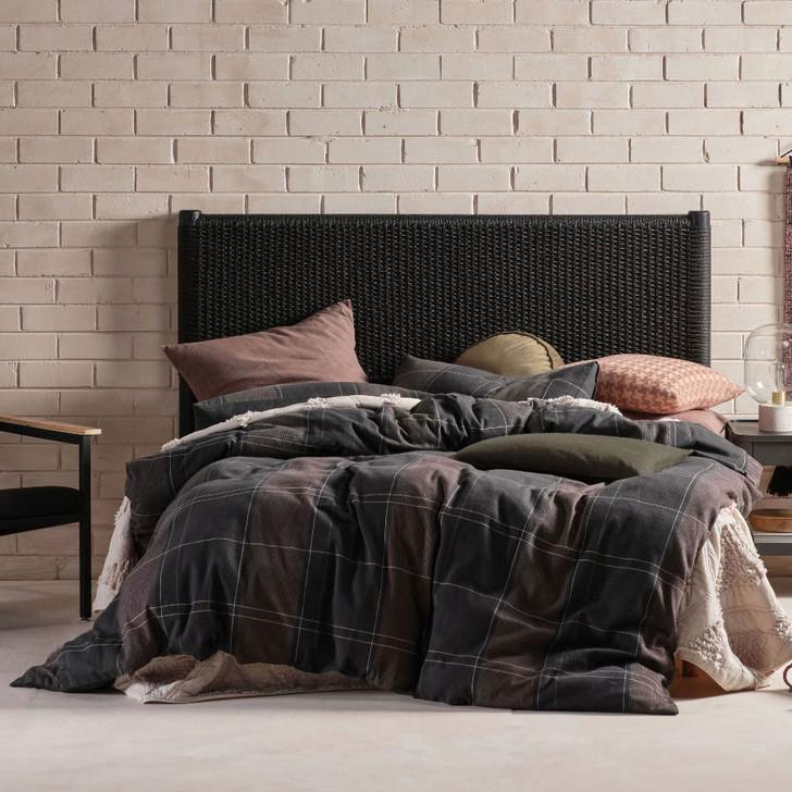 Linen House Albert Black Single Bed Quilt Cover Set   My Linen