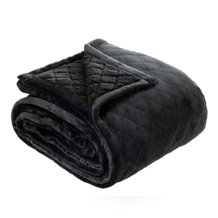 Bianca Mansfield Sherpa Velvet Single / Double Bed Blanket Charcoal   My Linen