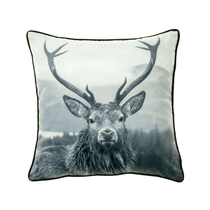 Bianca Alpine Deer Black Square Filled Cushion   My Linen