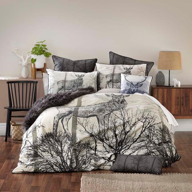 Bianca Alpine Deer Black Queen Bed Quilt Cover Set   My Linen