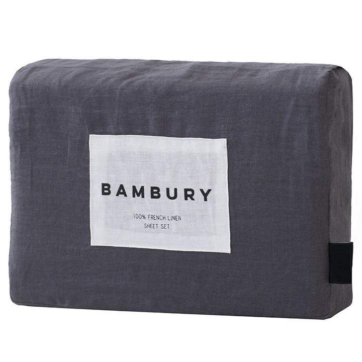 Bambury Charcoal 100% Linen Sheet Set