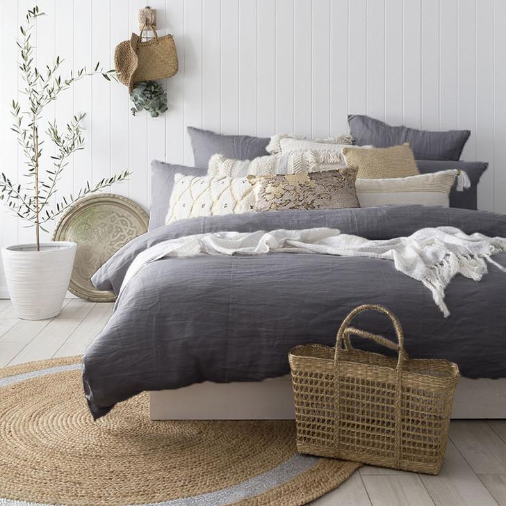 Bambury 100% Linen Charcoal Quilt Cover Set | My Linen