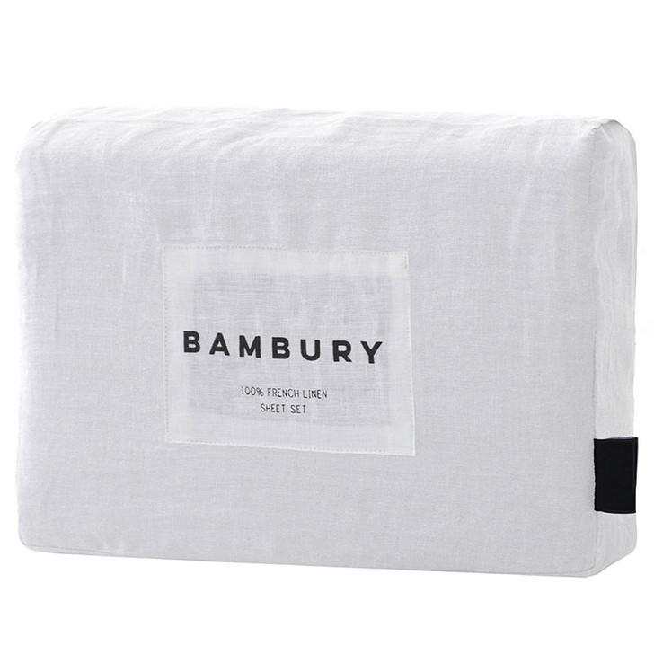 Bambury Ivory White 100% Linen Sheet Set
