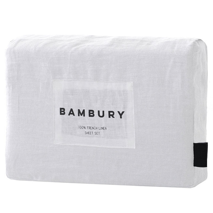 Bambury Ivory White 100% Linen Sheet Set