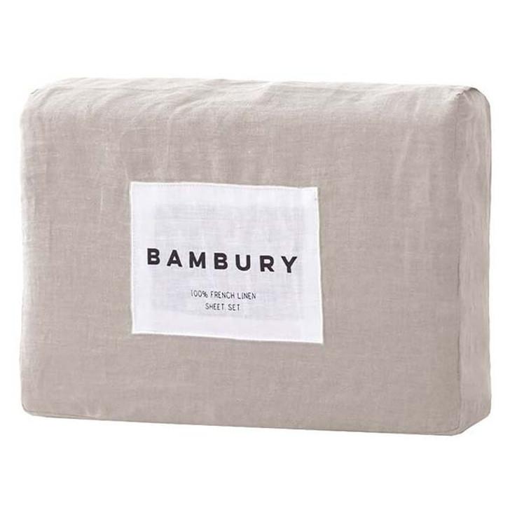 Bambury 100% Linen Pebble Queen Bed Sheet Set | My Linen
