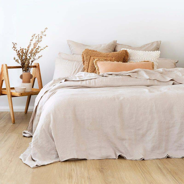 Bambury 100% Linen Pebble Queen Bed Quilt Cover Set Lifestyle | My Linen