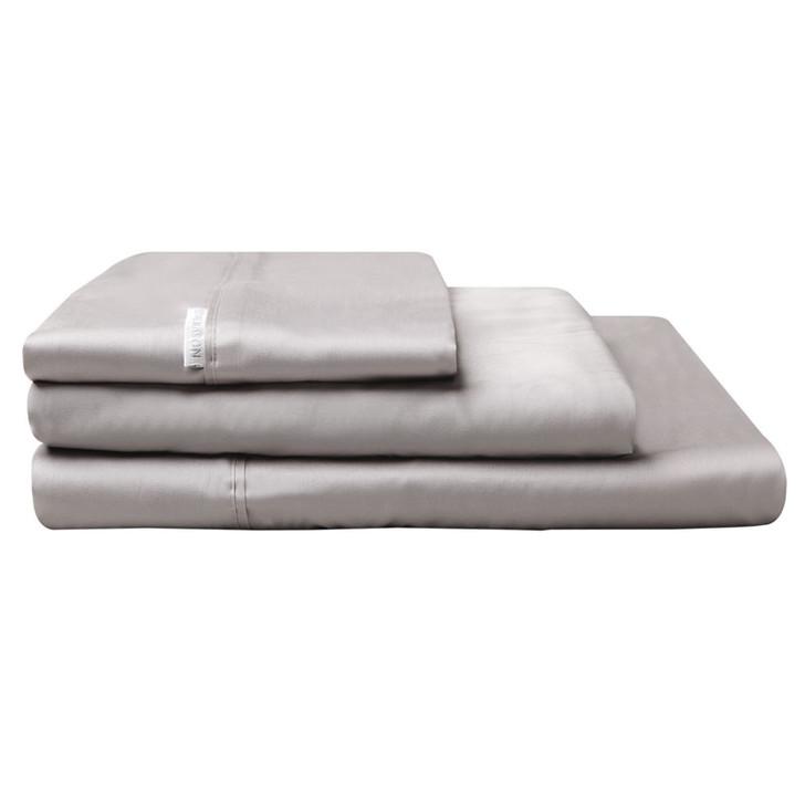 Logan and Mason Egyptian Cotton Sateen Long Single Bed Sheet Set Pewter | My Linen