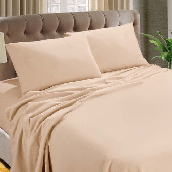 Kingtex Micro Flannel 40cm Double Bed Sheet Set Cameo Rose | My Linen