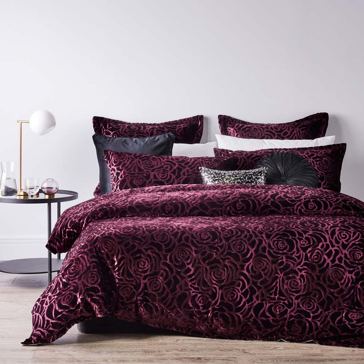 Platinum Logan and Mason Odette Aubergine King Bed Quilt Cover | My Linen