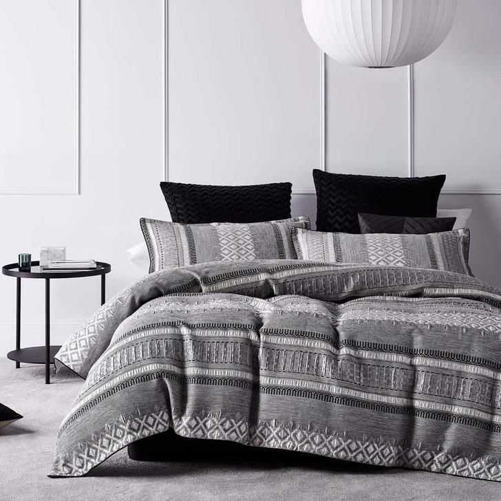 Platinum Logan and Mason Tribeca Steel Queen Bed Quilt Cover Set   My Linen