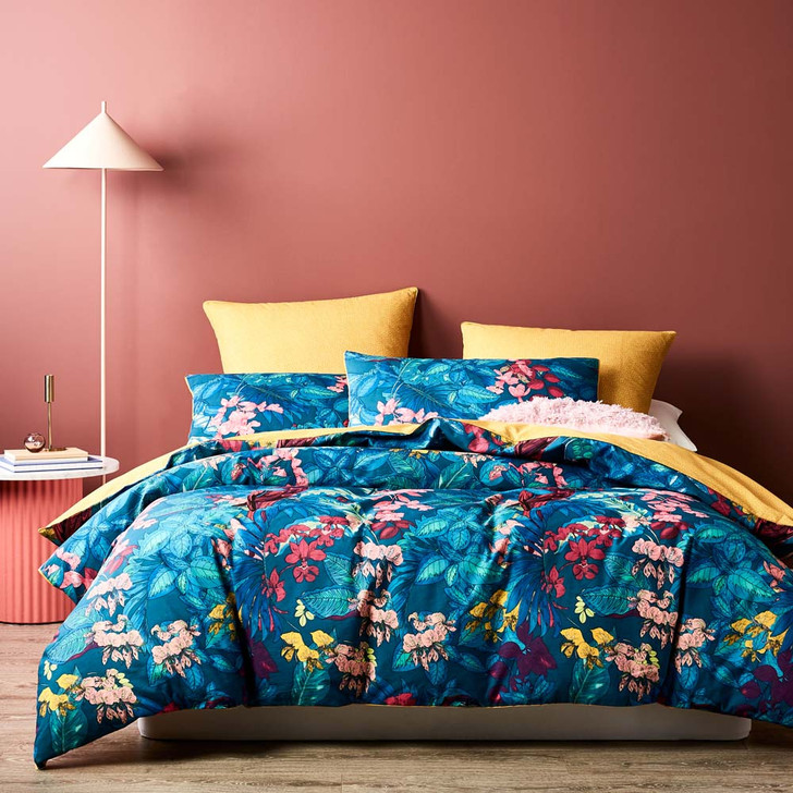 Logan and Mason Amazon Teal Queen Bed Quilt Cover Set | My Linen