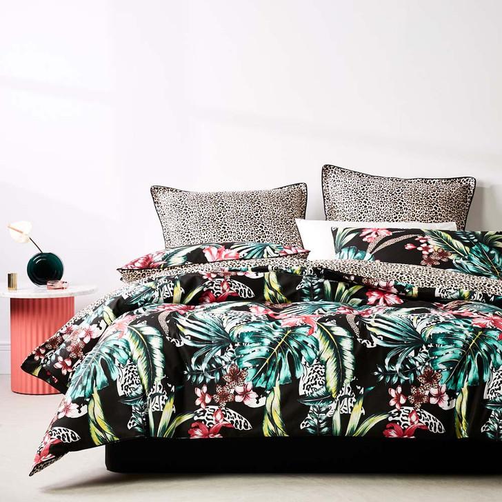 Logan and Mason Etta Black Queen Bed Quilt Cover Set   My Linen