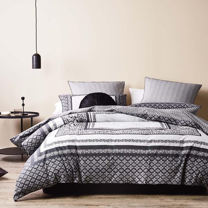 Logan and Mason Vaughn Charcoal Queen Bed Quilt Cover Set   My Linen