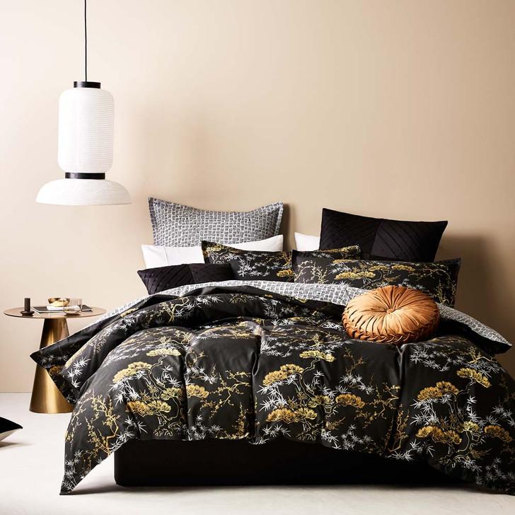 Logan and Mason Bonsai Black King Bed Quilt Cover Set | My Linen