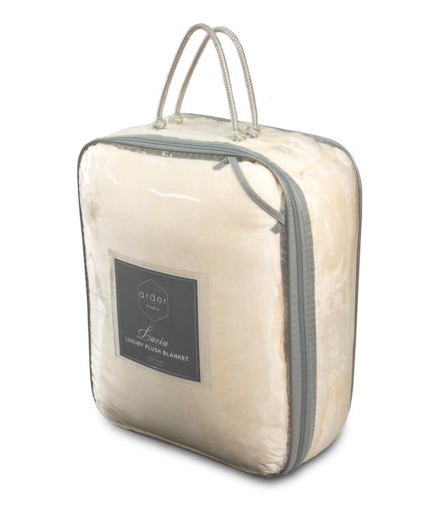 Ardor Boudoir Lucia Plush King Single Bed Blanket Ivory Packaging   My Linen