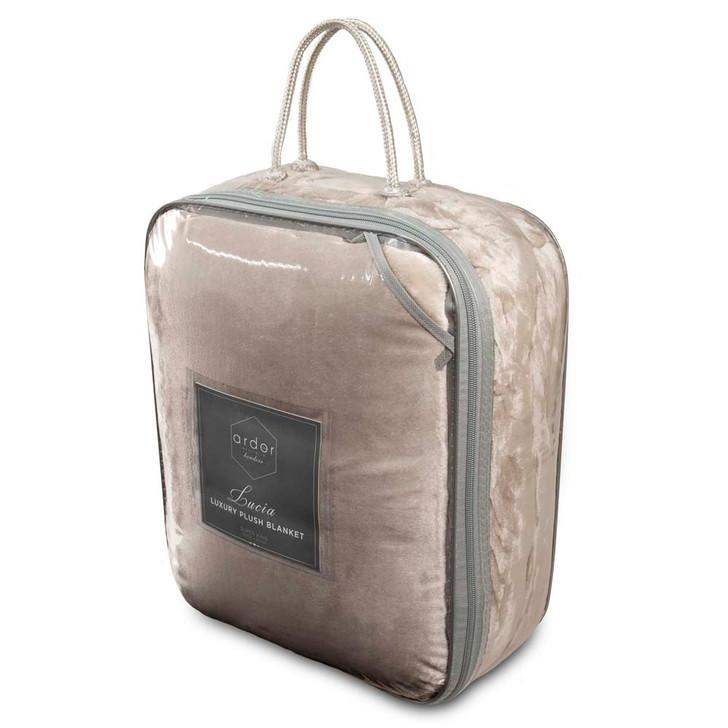 Ardor Boudoir Lucia Plush King Bed Blanket Stone Packaging | My Linen
