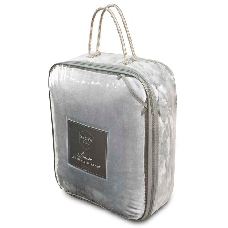 Ardor Boudoir Lucia Plush King Single Bed Blanket Silver Packaging   My Linen