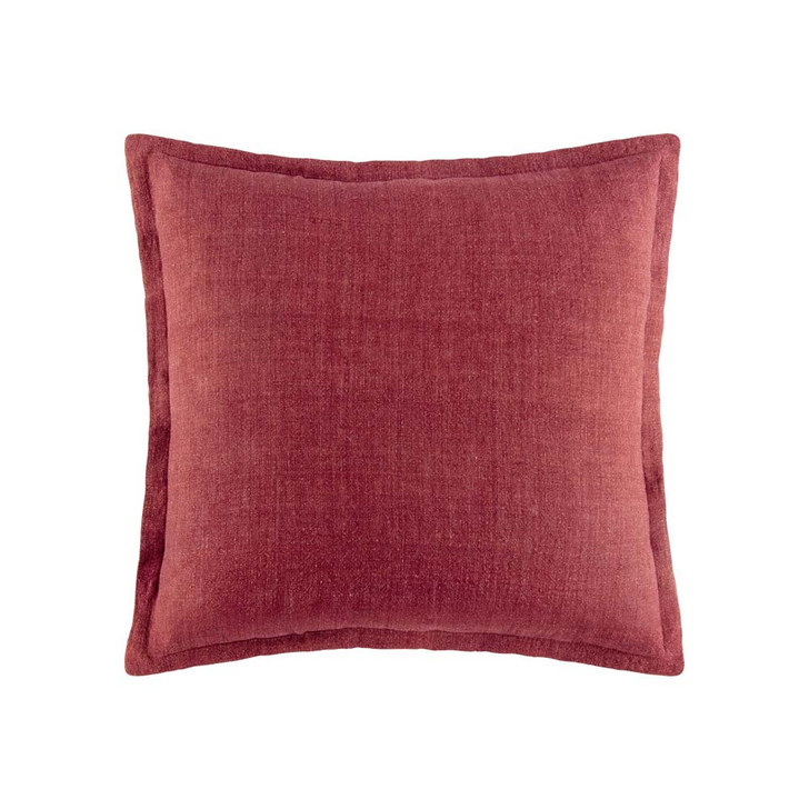 KAS Linen Wine Square Filled Cushion   My Linen