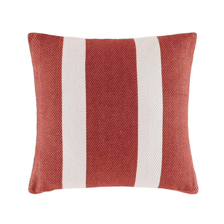 KAS Oldham Stripe Rust Square Filled Cushion | My Linen