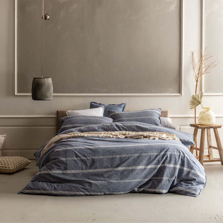 KAS Balmoral Navy King Bed Quilt Cover Set | My Linen