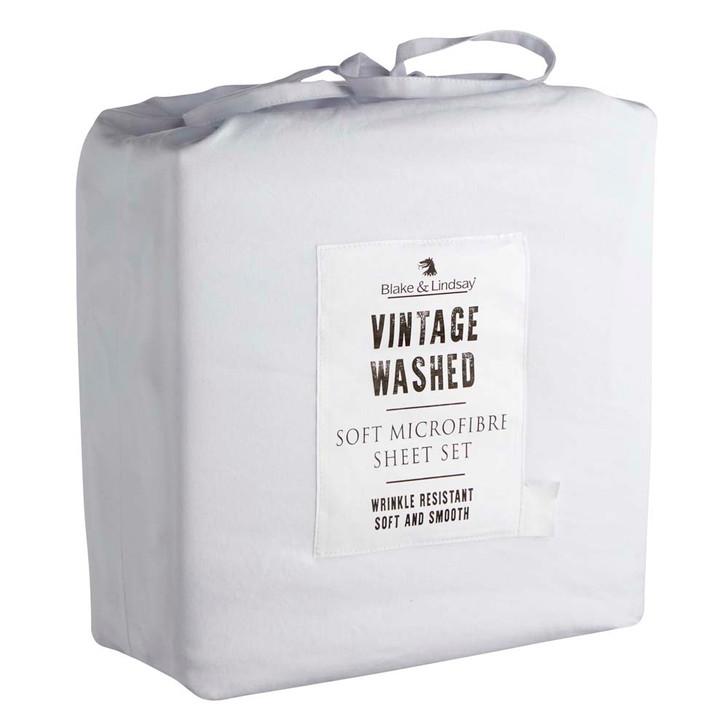 Blake & Lindsay Vintage Washed Microfibre White King Bed Sheet Set | My Linen