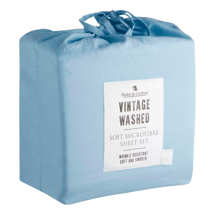 Blake & Lindsay Vintage Washed Microfibre Sky Single Bed Sheet Set | My Linen